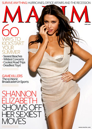 Shannon Elizabeth is on cover of Maxim magazine Poker playing actress cougar
